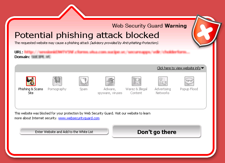 New Anti-phishing screen
